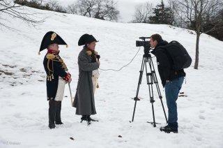 Laffrey. Commémoration du 7 mars à la prairie de la rencontre. Interview de Jean-Gérald Garcin qui incarne Napoléon