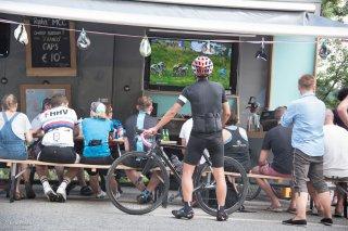 Supporters du Tour de France dans la montée de l'Alpe d'Huez