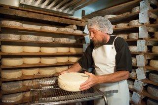 Travail à la cave. Retournement des fromages de Bleu du Vercors Sassenage. Ferme de la Grand Mèche à Lans en Vercors