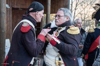 Soldats napoléoniens. Préparatifs de la reconstitution du bicentenaire à la prairie de la rencontre à Laffrey (Isère). 7 mars 2015
