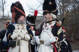 Soldats napoléoniens à la Salle en Beaumont. Reconstitution du bicentenaire de la prairie de la rencontre à Laffrey (Isère). 7 mars 2015