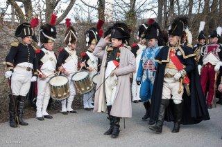 Napoléon et sa troupe à la Salle en Beaumont (Isère). Préparatifs de la reconstitution du bicentenaire à la prairie de la rencontre à Laffrey. 7 mars 2015
