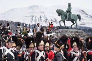Troupes napoléoniennes. Reconstitution du bicentenaire à la prairie de la rencontre à Laffrey (Isère). 7 mars 2015