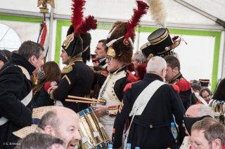 Soldats napoléoniens. Reconstitution du bicentenaire à la prairie de la rencontre à Laffrey (Isère). 7 mars 2015