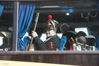 Soldats napoléoniens en transit. Reconstitution du bicentenaire à la prairie de la rencontre à Laffrey (Isère). 7 mars 2015