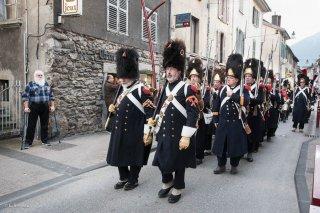 Défilé à Vizille (Isère). Reconstitution historique pour le bicentenaire de la remontée de Napoléon et de sa troupe de l'Ile d'Elbe.