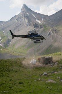 Héliportage en début d'alpage dans le Champsaur. Hautes-Alpes