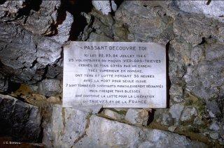 Plaque commémorative des résistants tués au Pas de l'Aiguille
