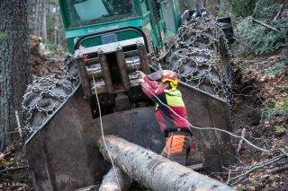 Florian Mathieu, bûcheron, tire le câble du tracteur débardeur pour accrocher un tronc. Chantier à Châtel en Trièves, Isère