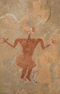 Peinture rupestre dans un abri sous roche, représentation d'un personnage