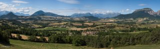 Vue panoramique du plateau du Trièves du sud vers le nord