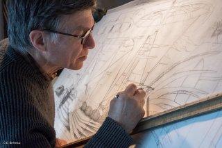 Serge Reynaud, dessinateur et sculpteur dans son atelier Art of Flying à Saint Baudille et Pipet. Isère