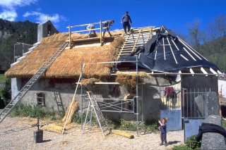 Fabrication d'un toit de chaume sur la chapelle de Trésanne